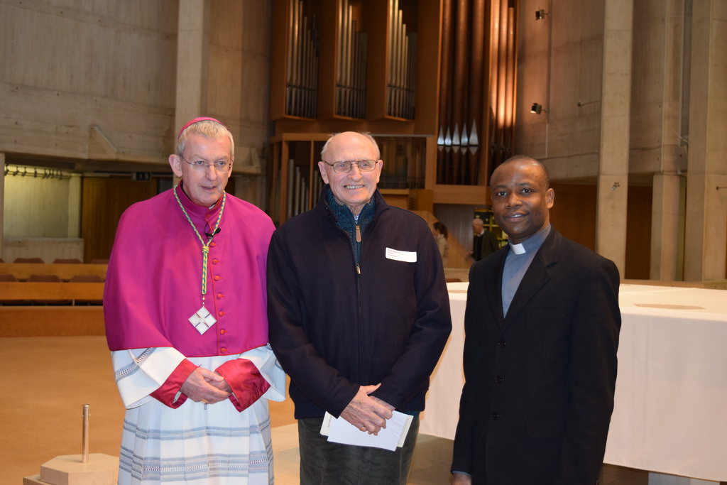 Father Isidore with Bishop Declan and Keith Williams at the Rite of Election on 21 February 2015 at Clifton Cathedral, Bristol